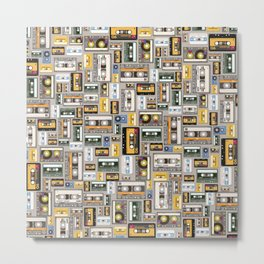 Retro cassette tape pattern 3 Metal Print