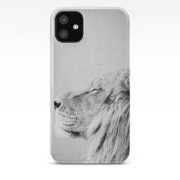 Lion Portrait - Black & White iPhone Case