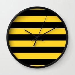 Yellow and Black Honey Bee Horizontal Cabana Tent Stripes Wall Clock