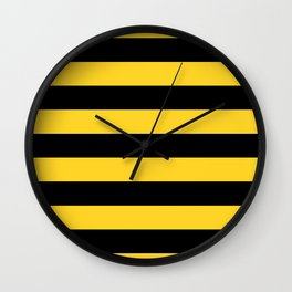 Yellow and Black Honey Bee Horizontal Cabana Tent Stripes Wall Clock