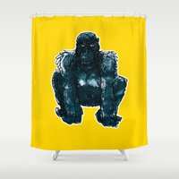 gorilla Shower Curtains featuring gorilla by jenapaul
