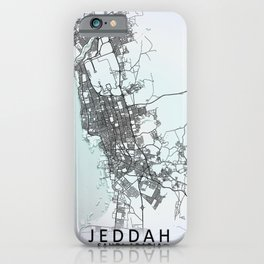 Jeddah, Saudi Arabia, White, City, Map iPhone Case
