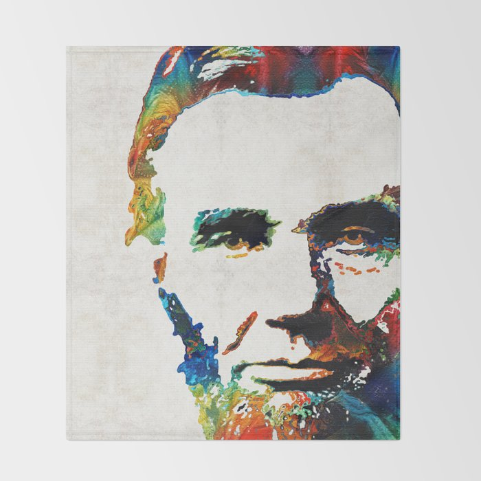 Abraham Lincoln Art - Colorful Abe - By Sharon Cummings Throw Blanket