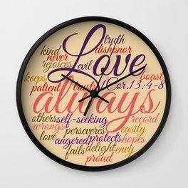 Christian Love Never Fails 1 Cor. 13:1-8 Wall Clock