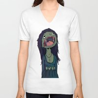 vampire V-neck T-shirts featuring Vampire by charcola