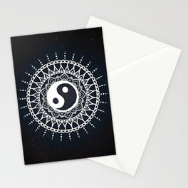 Yin Yang Mandala / White Mandala over stars Stationery Cards
