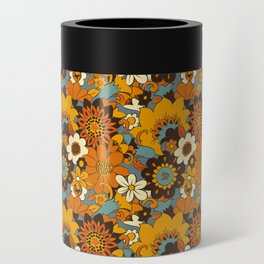 70s Retro Flower Power 60s floral Pattern Orange yellow Blue Can Cooler