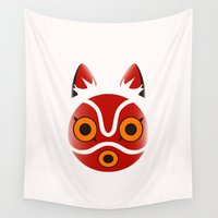 princess mononoke Wall Tapestries featuring Mononoke by Miss Phi