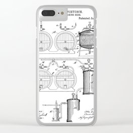 Brewery Patent - Beer Art - Black And White Clear iPhone Case