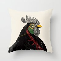 rooster Throw Pillows featuring Rooster by Urška Hočevar