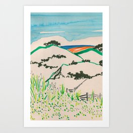 To the beach -Minimalist Landscape Art Print