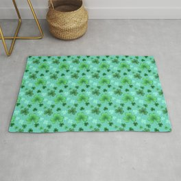 Lucky Clover Pattern Teal and Green Rug
