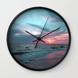 Pink and Teal Beach Sunset tropical vacation Wall Clock