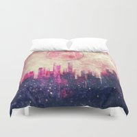 city Duvet Covers featuring Mysterious city by SensualPatterns