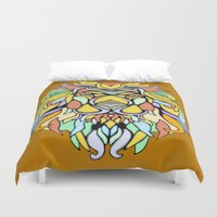 metallic Duvet Covers featuring Metallic Lion by J&C Creations