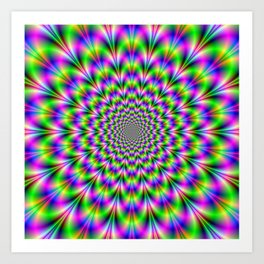 Neon Rosette in Pink Green and Blue Art Print