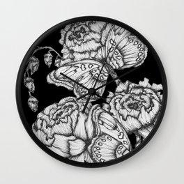 Black Fluttering Ink II Wall Clock