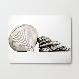 BW Wooden Spinning Top Metal Print