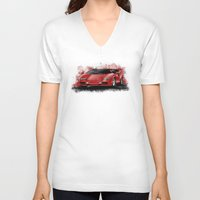 lamborghini V-neck T-shirts featuring 1985 Lamborghini Countach by an.artwrok