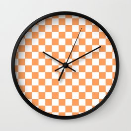Gingham Orange Mango Checked Pattern Wall Clock