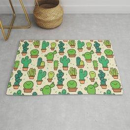 Cute Happy Cactus Cacti Pattern Rug