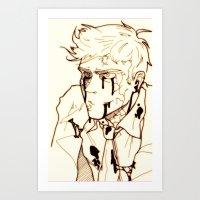 levi Art Prints featuring Levi!Cas by PrettyOddChild