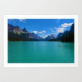 """Hall of Gods"" Maligne Lake in Jasper National Park, Canada Art Print"