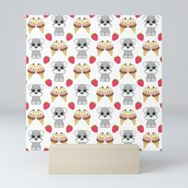 Cute happy funny baby Schnauzer puppy, sweet adorable yummy colorful Kawaii ice cream cones and red summer strawberries cartoon white pattern design Mini Art Print