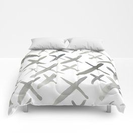 Watercolor X's - Grey Gray Comforters