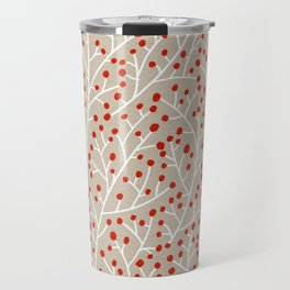 Red & White Berry Branches Travel Mug