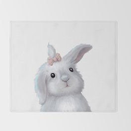 White Rabbit Girl isolated Throw Blanket