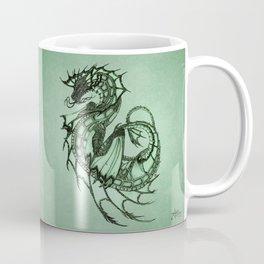 """Tsunami"" by Amber Marine ~ Sea Dragon (Jade Version) ~ Graphite Illustration, (Copyright 2005) Coffee Mug"