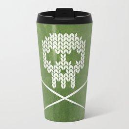 Knitted Skull - White on Olive Green Travel Mug