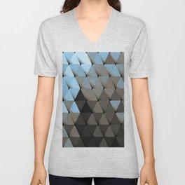 Triangles Blue Putty Unisex V-Neck