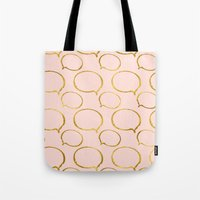 gold foil Tote Bags featuring Pink Gold Foil 01 by Aloke Design