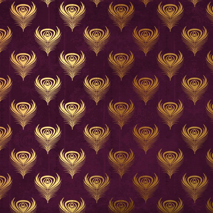 Purple gold peacock feather Comforters