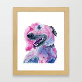 Irish Wolfhound Watercolor Framed Art Print