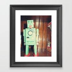 green robot! ~ mid century atomic tin toy Framed Art Print