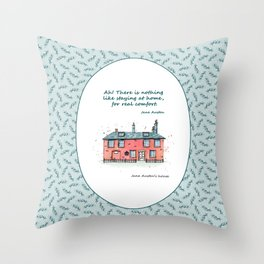 Jane Austen house and quote Throw Pillow