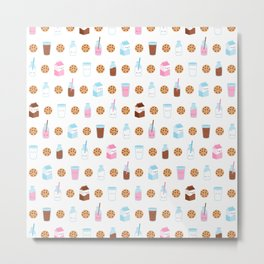 Milk and Cookies Pattern on White Metal Print