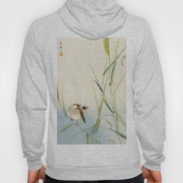 Sparrow and Butterfly  - Vintage Japanese Woodblock Print Art Hoody