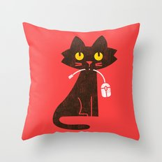 Fitz - Hungry hungry cat (and unfortunate mouse) Throw Pillow