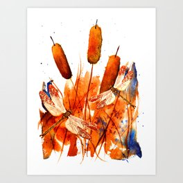 Dragonflies and Cattails Art Print