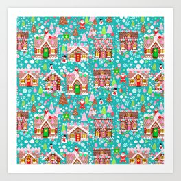 Christmas Gingerbread House Candy Village Art Print
