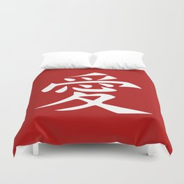 The word LOVE in Japanese Kanji Script - LOVE in an Asian / Oriental style writing. White on Red Duvet Cover
