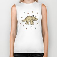 bedding Biker Tanks featuring Triceratops & Triangles by micklyn