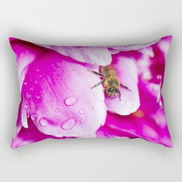 Bee on Wet Peony Petals Rectangular Pillow