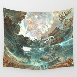 Aqua Space Shipyard Wall Tapestry