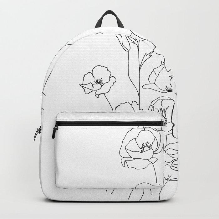 Poppy Flowers Line Art Rucksack