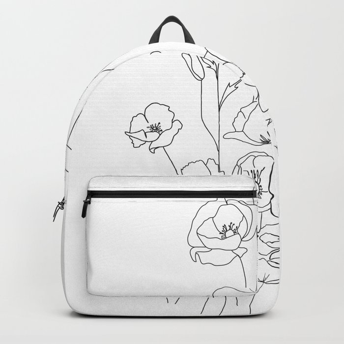 Poppy Flowers Line Art Rucksack